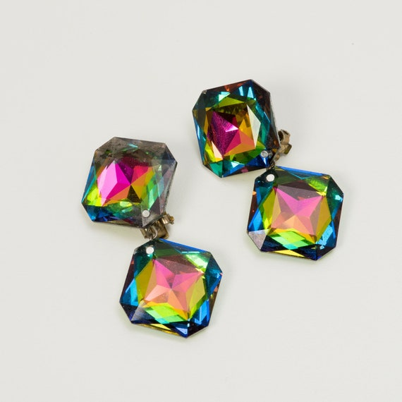 Earrings Rainbow Crystal Drop Clip-On  1990s Vinta