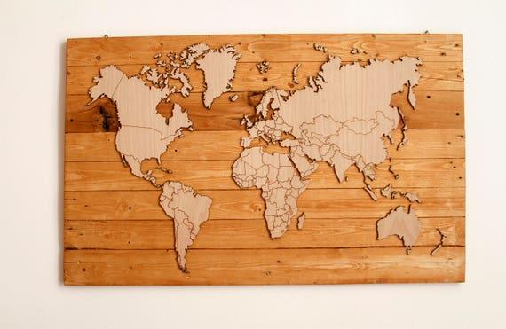 Cartina Mondo Immagini.Mondo Mondo In Legno Mappamondo Cartina Cartina In Legno Etsy