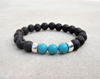 Genuine turquoise bracelet with 925 sterling silver Bali and lava stone beads / Beaded turquoise silver bracelet turquoise jewelry