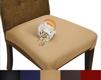 SmartSeat Dining Chair Cover and Protector-Removable, Waterproof, Machine Washable, Soft, Comfortable Fabric for Kids, Pets, Eldercare - Tan