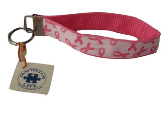 Pink Breast Cancer Key Chain / Keyfob with Pink Backing and a sturdy 12 inch wrist loop - made by Adults with Special Needs