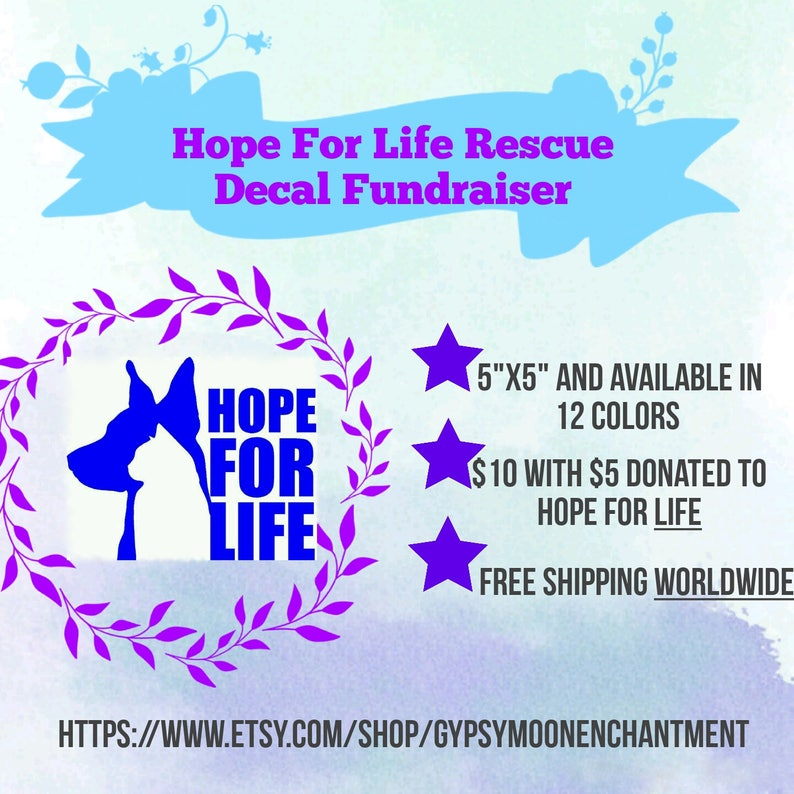 Vinyl Sticker Adopt Dont Shop Hope For Life Rescue Vinyl Decal Fundraiser Animal Rescue