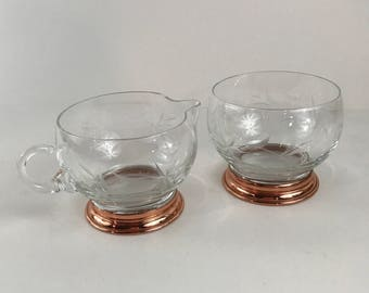 Vintage Copper Base Creamer and Sugar Etched Glass with Copper Bases