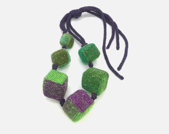 Knitted Necklace Woven necklace Textile wool jewelry Fiber Necklace Contemporary textile pendants Geometric Textile jewelry