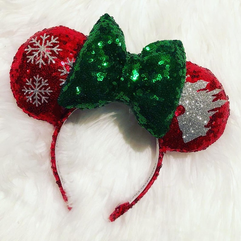 Disney Parks Silver Minnie Castle Bow Ears Headband Christmas Ornament