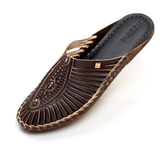 Handmade kolhapuri leather mules women\u2019s summer flats,slip on shoe,moccasin shoes,bohemian sandal,boho sandals