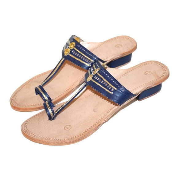 8781feec281c8 Navy Blue Golden sandals,Mother's day gift,Gift for mom,Mother's day,summer  sandal,Handmade Leather Sandals,Kolhapuri Chappal,Flat,flipflops