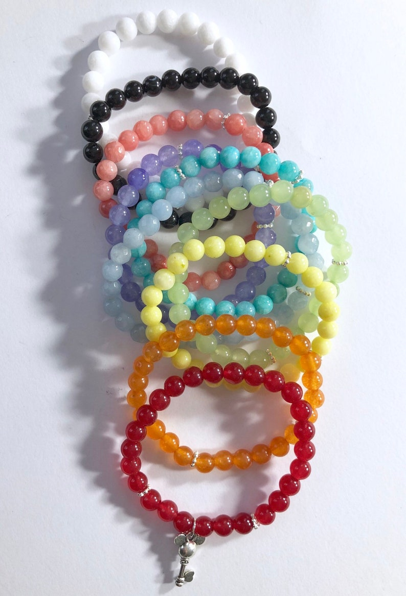 choose your color! key to the kingdom stackable gemstone bracelet /  available in many color choices / mickey mouse key charm