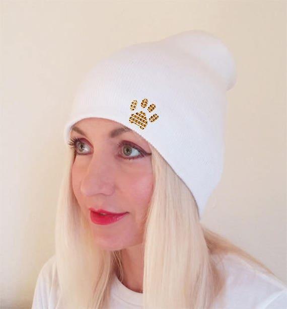 Long Beanie Slouchy Hat White Beanie Gold Paw Winter Beanie Beanie for Women Blank Beanie Beanie with Paws Paw Beanie Paw Beanie