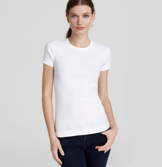 3f325c0d26a White Tshirt for Women High Crewneck Plain T Shirt