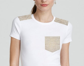 Athletic Style Mesh Sheer Pink Periwinkle Blue Pastel Donut Sequin Sequined Appliqué Short Sleeve Pocket T-Shirt Basketball Jersey Top S M L 172PKzRZA