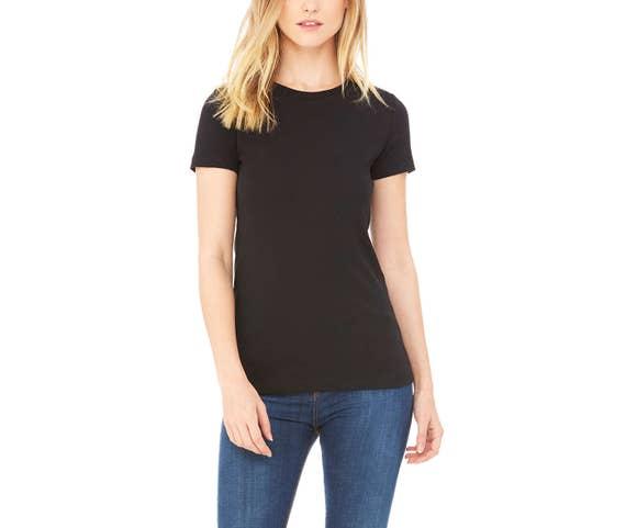 525bd02319e1 Black Tshirt for Women High Crewneck Plain T Shirt Womens | Etsy
