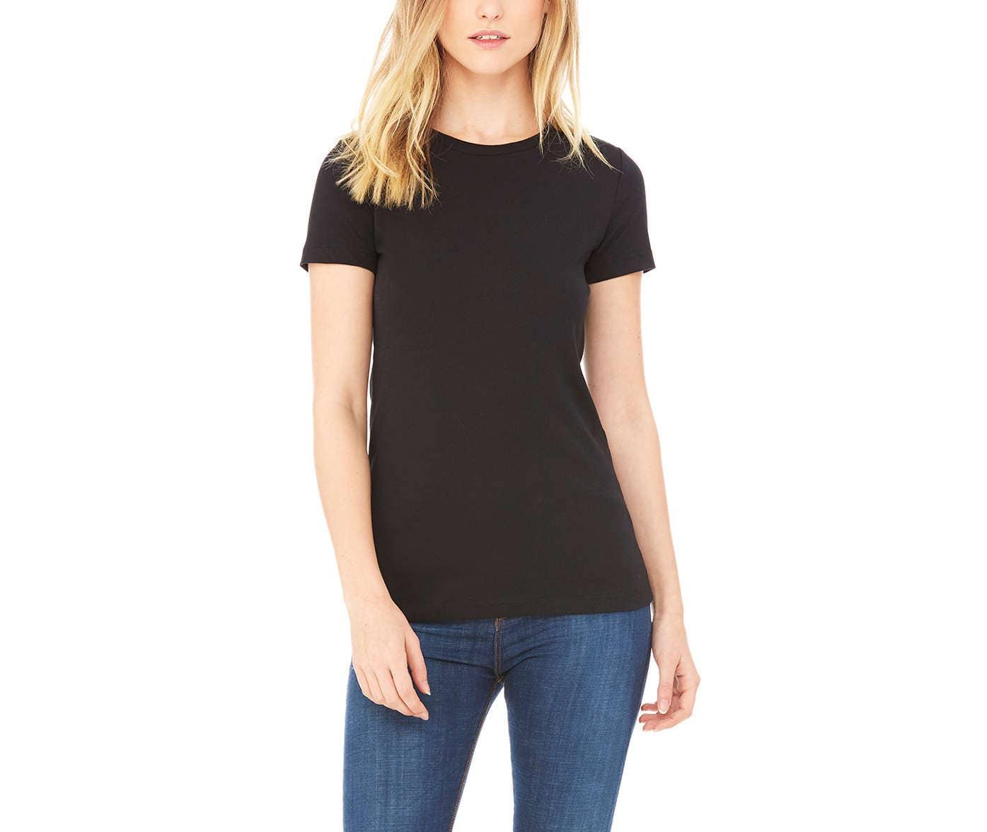 Black Tshirt for Women High Crewneck Plain T Shirt Womens ...