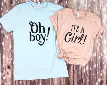 a15ab99d71efe Oh Boy & It's A Girl t-shirts..Gender Reveal Couples T-shirts matching  couples baby shower couples tee team blue team pink expecting parents