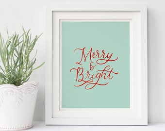 Merry and Bright printable | merry and bright download | Christmas printable | Holiday art | Christmas art | Holiday decor | Christmas decor