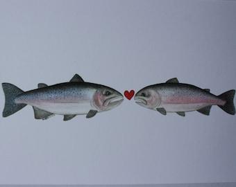 "Watercolour ""Cuddlefish"" Greeting Card (Blank) #4 - Fly Fishing Series - Steelhead & Rainbow Trout"