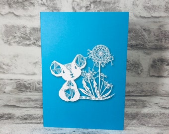 Mouse With Mandala Dandelion on Blue Background Printed Greetings Card Blank Inside
