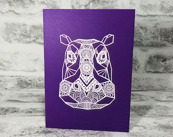 Mandala Hippopotamus on Purple Background Printed Greetings Card Blank Inside