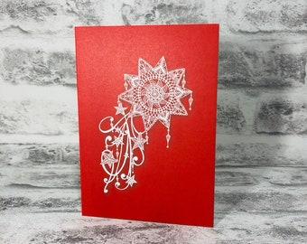 Mandala Shooting Star on Red Background Printed Greetings Card Blank Inside