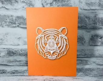 Mandala Tiger on Orange Background Printed Greetings Card Blank Inside