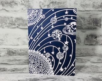 Mandala Solar System on Navy Background Printed Greetings Card Blank Inside