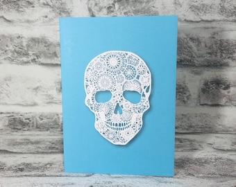Mandala Skull on Blue Background Printed Greetings Card Blank Inside