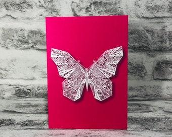 Mandala Butterfly on Pink Background Printed Greetings Card Blank Inside