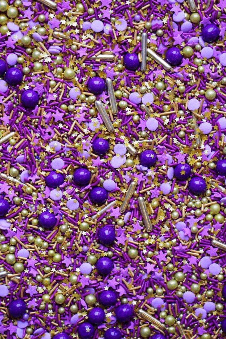 Royalty Sprinkles Blend, purple and gold sprinkles, fancy sprinkles, gold  dragees, royal sprinkles