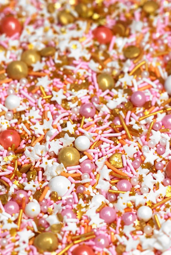 PRIM AND PROPER Sprinkle Blend, coral sprinkles, Fancy Sprinkles, cake  decorations, gold sprinkles, pastel sprinkles