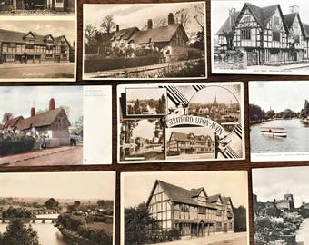 c.1910-1930s *10* STRATFORD Upon AVON Photo Postcards; Shakespeare's Birthplace; Publishers/Copyrights: TUCK, Photochrom Co., et.al.;  N.M.
