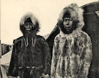 c.1910 INUIT Eskimo Chief and His Wife; An Island in the Bering Strait; Phototypie, Levenq & Cottin, Lyon; Unused, MINT Condition.