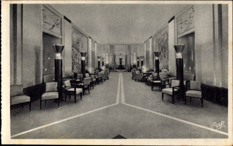 c.1930s ART-DECO-Gallerie Salon; Le Havre, Paquebot France De La CGT,  französische Linie; Unbenutzt, knackig, sauber, neuwertig