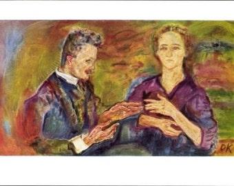 "c.1930s Mint ~ Artist PC by Oskar Kokoschka ""Portrait of Dr. Teitz and his Wife"" MOMA, c.1930s"