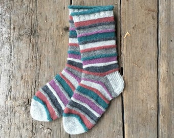 Hand knitted wool socks from naturally dyed yarns