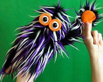 Live-Hand Mini Monster Puppet - Black, Purple, and White Speciality Fur