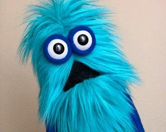 Mini Monster Practice Puppet - Teal Blue Fur