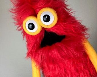 Mini Monster Practice Puppet - Red Fur