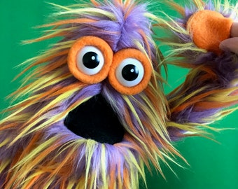 Live-Hand Mini Monster Puppet - Purple, Orange, and Yellow Speciality Fur