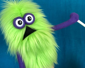 Mini Monster Hand and Rod Practice Puppet - Neon Green Fur