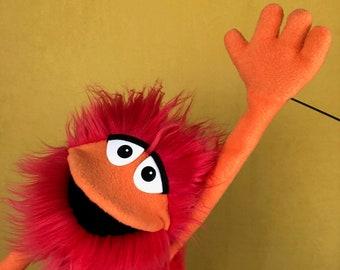 Furry Red Monster Hand and Rod Puppet