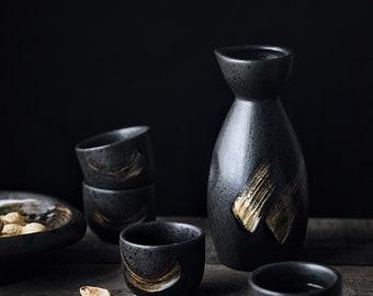 Ceramic Sake Set (Pot and Cup)   Black with Hand Painting Design Sake Cup   Black Japanese Elegant Rum Drinking Pot   Sake Pot
