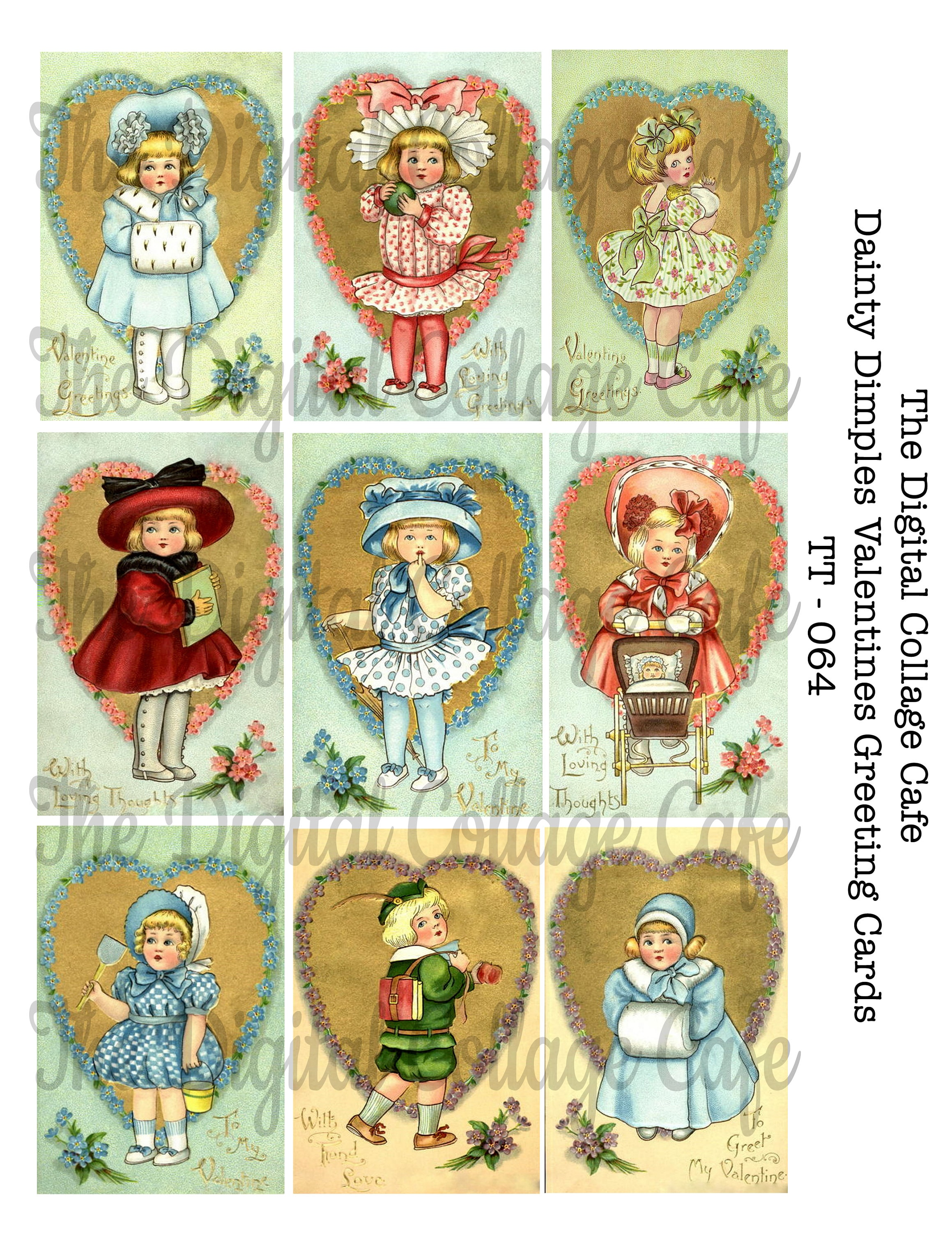 Dainty Dimples Valentines Greeting Cards Digital Collage Sheet