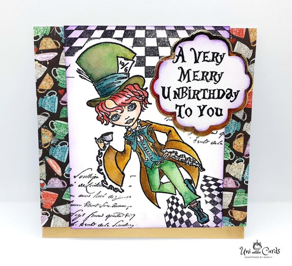 Alice In Wonderland Mad Hatter Happy Birthday Card Merry Etsy