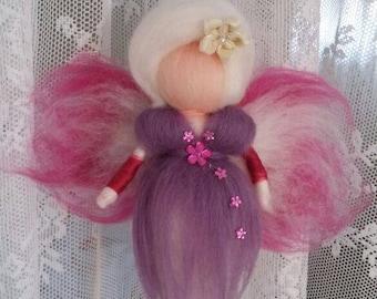 Wool fairy, Needle felted, purple fairy Fairy doll Fantasy doll Art doll Waldorf inspired Home decoration