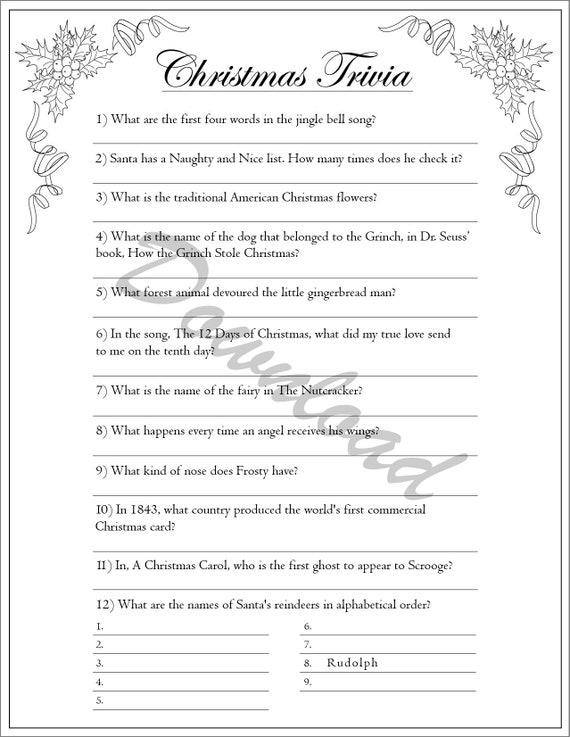 Christmas Carol Trivia.Christmas Trivia