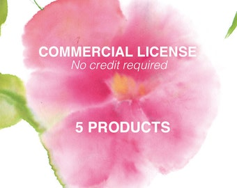 Commercial no credit license for any 5 watercolor clip art sets