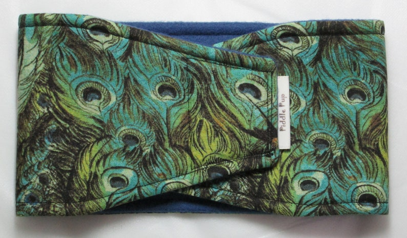 Male Dog Belly Band with Waterproof PUL /& All-In-One Options Peacock Feathers Teal
