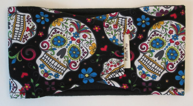 Male Dog Belly Band with Waterproof PUL /& All-In-One Options Sugar Skull Black