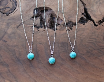 Turquoise necklace, dainty turquoise silver circle necklace, round turquoise, small turquoise necklace, gifts under 20, gift for women