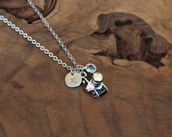 Camera necklace, photographer necklace, black and silver camera, photography, gift, personalized, birthstone and initial